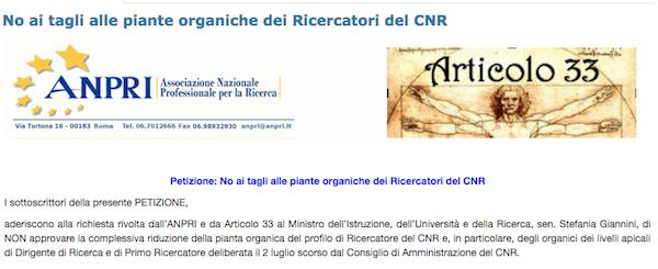 Schermata petizione contro taglio pianta organica CNR